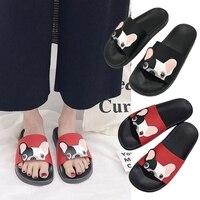 KLV милый мультфильм собака мода слайд пляж тапочки плоские туфли предотвратить скользкие EVA + резиновые Тапочки