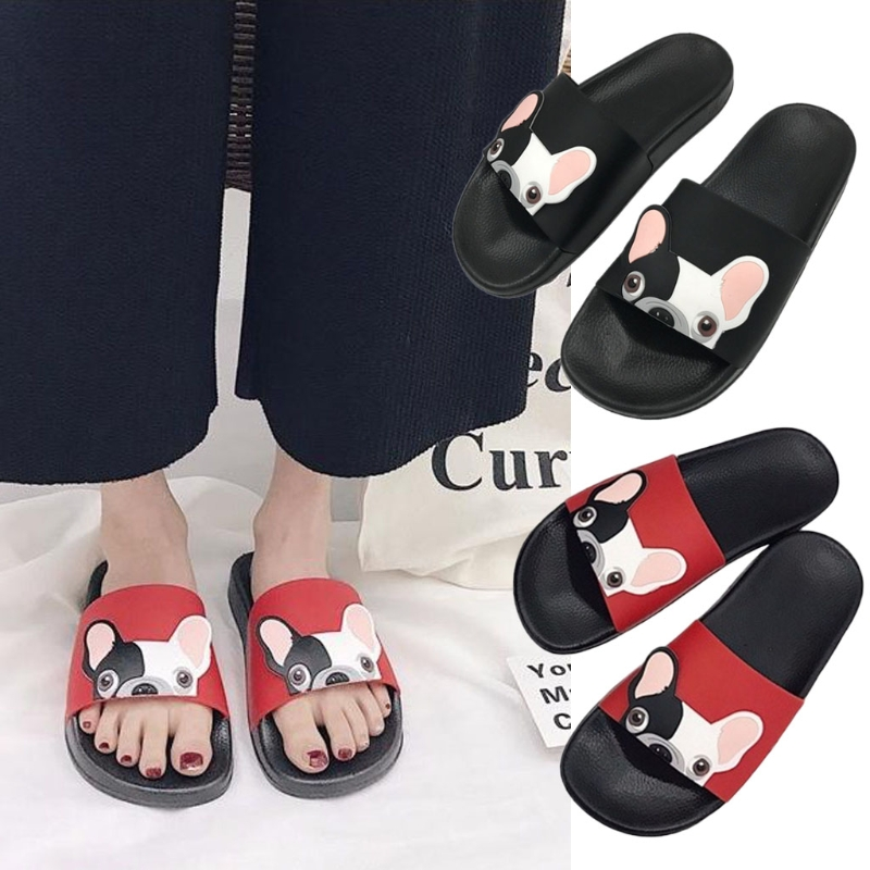 KLV Linda caricatura perro moda Slide playa zapatilla zapatos planos prevenir resbaladizo EVA + zapatilla de goma