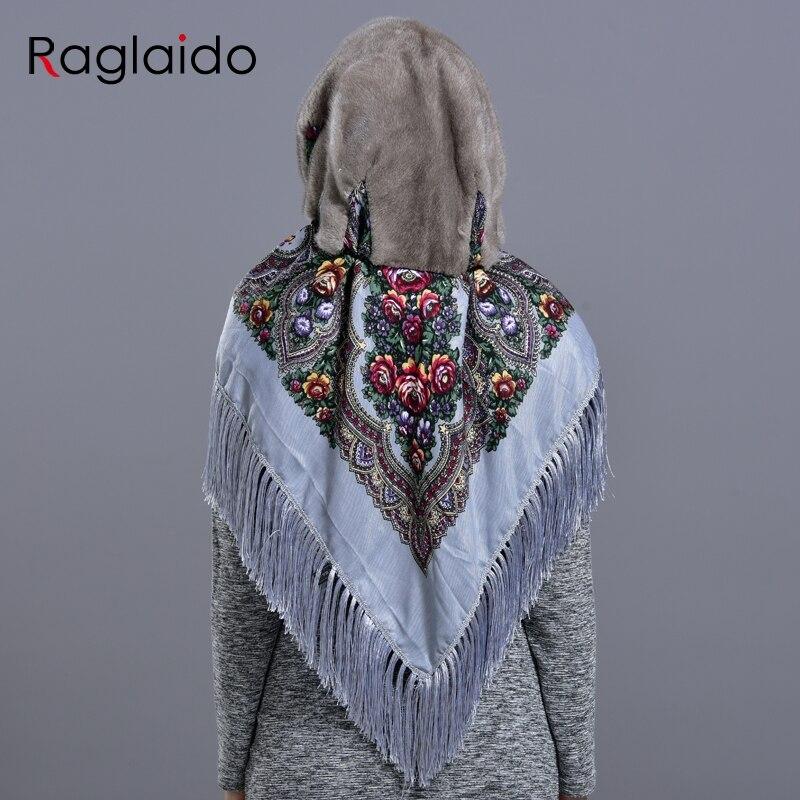 Image 3 - mink fur hood hats for women winter fashionable luxury girls female warm stylish real fur elegant tassel scarf hatWomens Bomber Hats   -