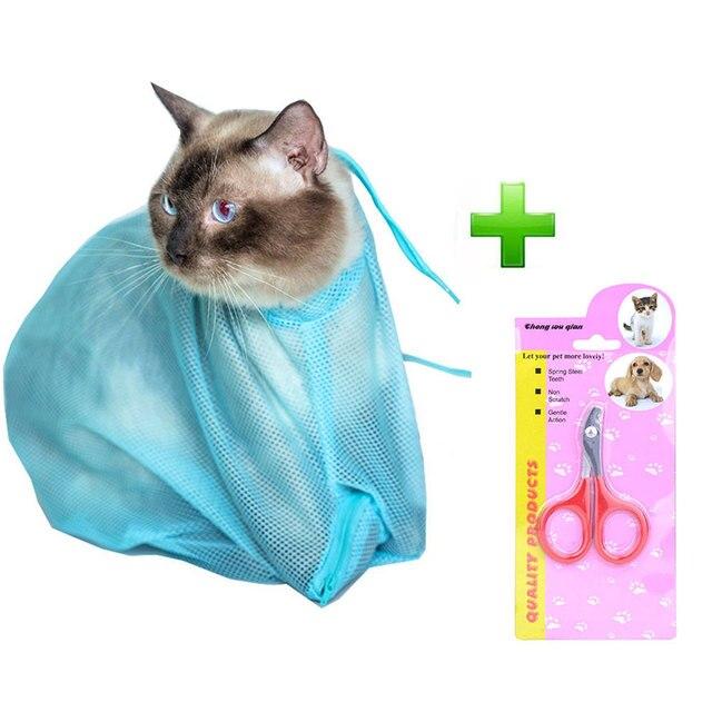 Free Nail Scissors Mesh Bag Cat Grooming Bathing Bag No Scratching Biting Restraint for Bathing Nail Trimming Injecting Examming
