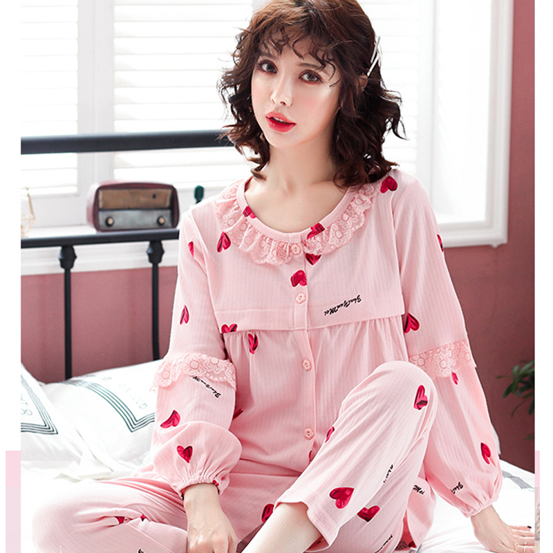 Fashion Printed Cotton Mateernity Nursing Pajamas Cothes for Pregnant Women  Sweet Heart Breastfeeding Pregnancy Sleepwear SetsFashion Printed Cotton Mateernity Nursing Pajamas Cothes for Pregnant Women  Sweet Heart Breastfeeding Pregnancy Sleepwear Sets