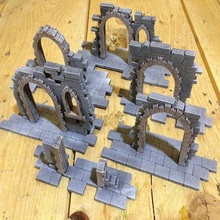 Scenes Gothic Style Ruins Gate For Gloomhaven War Table Games Hammer PP Infinity TRPG Tabletop RPG Wooden Panel laser Cutting