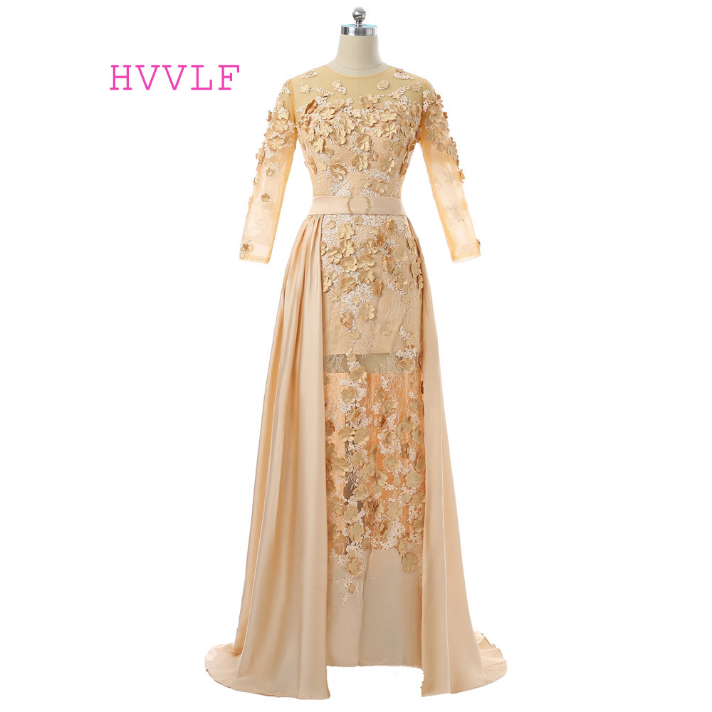 Gold 2019 Formal Celebrity Dresses Sheath Long Sleeves Chiffon Lace Flowers Detachable Long Evening Dresses Red Carpet Dresses