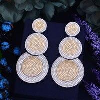 GODKI 75mm Luxury Popular Luxury Round Design Full Mirco Pave Crystal Zircon Earrings Fashion Jewelry For