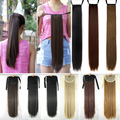 Sexy Lady 22inch Straight Ponytail Hair Extension Dark Brown Black Blonde Pony tail Bandage Binding Tie Up Drawstring Pony USA