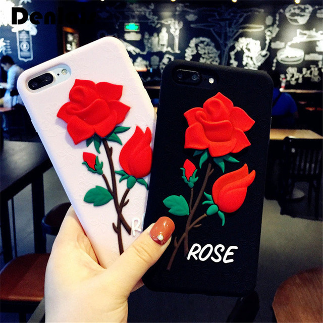fashion 3d romantic rose flower lover cute cartoon rubber soft