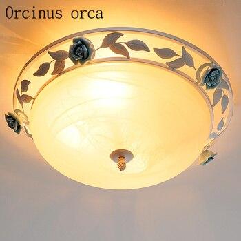 הים התיכון פרח זכוכית תקרת מנורת סלון חדר אוכל חדר גן סגנון פשוט חם ברזל עגול תקרת אור משלוח חינם