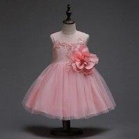 新しい高-グレードクリスマスピンクビッグフラワーガールドレスウェディング誕生日パーティードレスのための夏プリンセスドレス用ノースリーブ