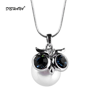 Fashion Charm Pearl Owl Necklace Long Chain Necklaces Pendants Women Jewelry High Quality 18mm Pearl X0252