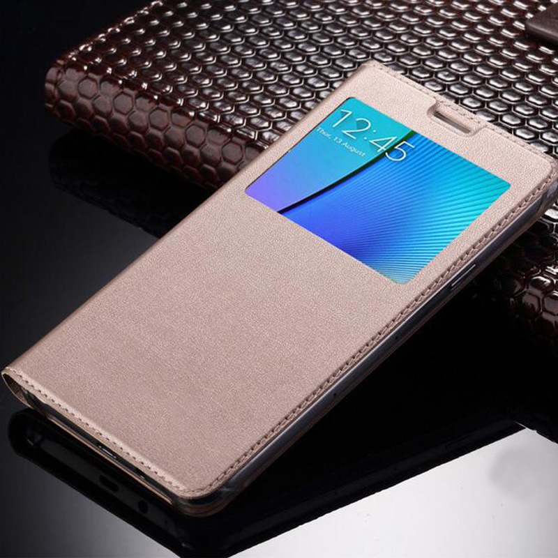 for coque samsung galaxy j3 2016 case luxury open window view flip leather case for samsung j3
