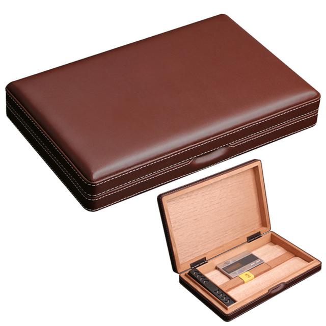 Portable Travel Use Wooden Lining Rare Sheepskin Leather Cigar Humidor
