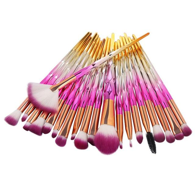 10/20Pcs Professional Make Up Brush Set Colorful Rainbow Diamond Makeup-brushes Blending Cosmetics Contour Brush for Eye Shadow