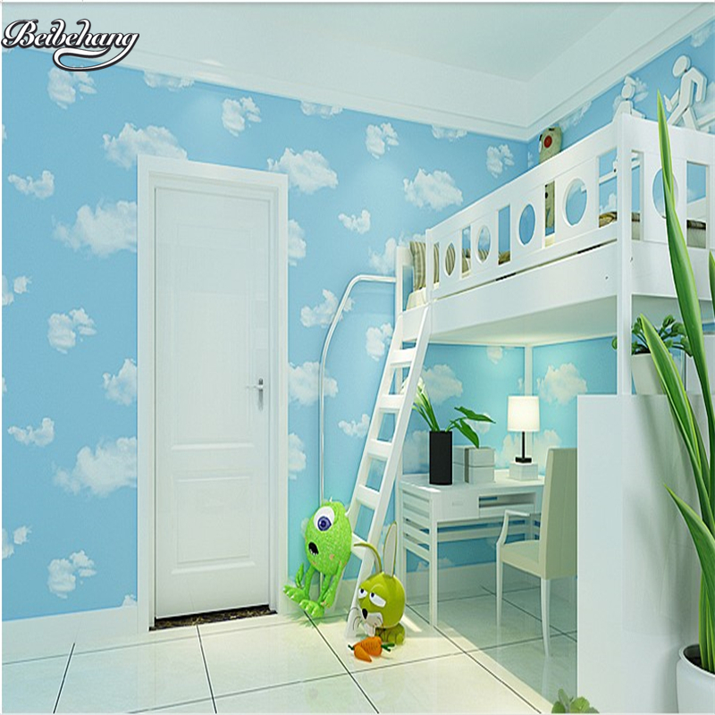 beibehang Non - woven wallpaper children 's room boys and girls blue sky white clouds wallpaper bedroom living room study beibehang environmental non woven boy girl warm cartoon children s room blue sky clouds balloon wallpaper