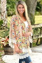 Charmed Chiffon Printing Cardigan Sunscreen Beach Kimono Summer Boho Women Floral Loose Shawl Long Sleeve Lace Blouse wz* charmed