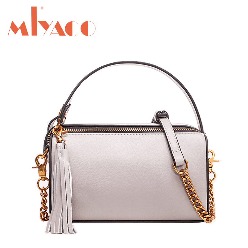 MIYACO Fashion Mini Messenger bags Women Genuine Leather tassel Crossbody bag Flap Bags Female Handbags Shoulder Bag bag women 2018 new messenger bags female genuine leather tassel shoulder bag small flap bag vintage fashion rivet mini handbag
