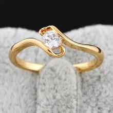 GUSSIARRO Fashion Jewelry White CZ  Gold-color Round Zirconia Cute Wedding Ring for Women Free Shipping Size 6 7 8 9