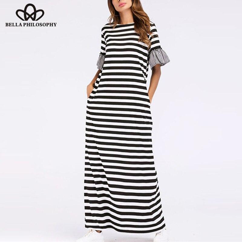 Maravilha Benuynffy Xadrez Patchwork Listrado Vestido Longo Verão Mulheres Lady Casual O Pescoço Curto Alargamento Da Luva Maxi Vestido com Bolso