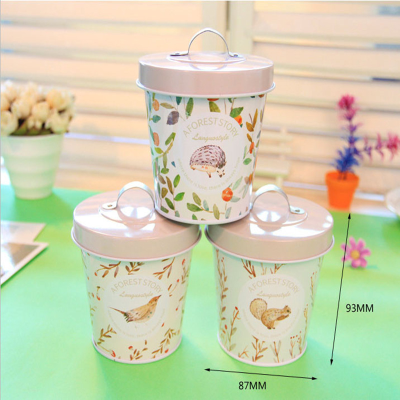 4pc Languo Forest Story Storage Box Collection Tin Bucket LGSZ-3990 Wedding Favors Gift Candy Metal Holder Decoration Big Barrel