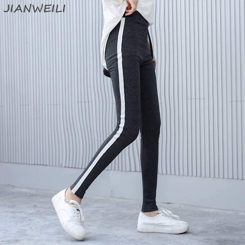 JIANWEILI   Leggings   Women Winter Thick Leggins Warm Cotton Striped Gothic Fitness High Waist   Leggings   Slim Casual Pants Trousers