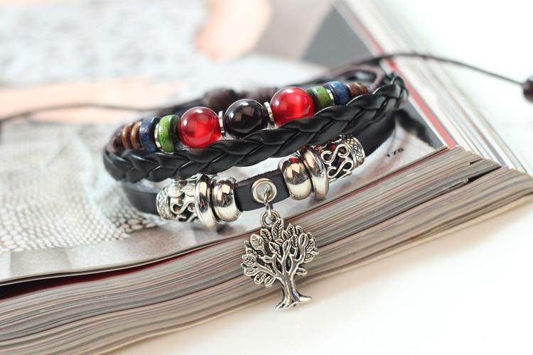 JINSE Wristband Handmade Tree Charm Genuine Leather Adjustable Bracelet Wristband Jewelry Unisex DF031 in Charm Bracelets from Jewelry Accessories