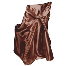 Genial 50Pcs Chocolate Self Tie Satin Chair Cover For Universal