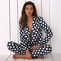 Mezcla De Lana para mujer Pijamas Set Pijamas ropa de Dormir Conjunto Loungewear M, L, XL, 2 Polka Dot Print All Seasons XLPlus Envío Gratis