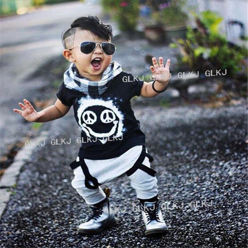 SY123 new summer 2018 boy's short-sleeved cotton baby clothes set fashion t-shirt + pants baby boys clothing set kids clothes