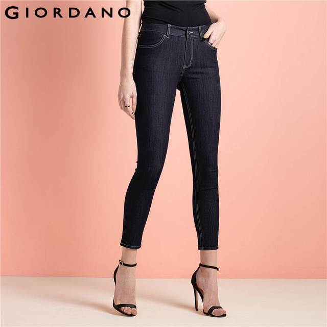 5b1ce0fdd3fc07 US $48.0 |Giordano Women Jeans Cropped Indigo Denim Pants Ladies Clothing  Famous Brand Casual Slim Fit Trousers Calcas Jean Pants-in Jeans from ...