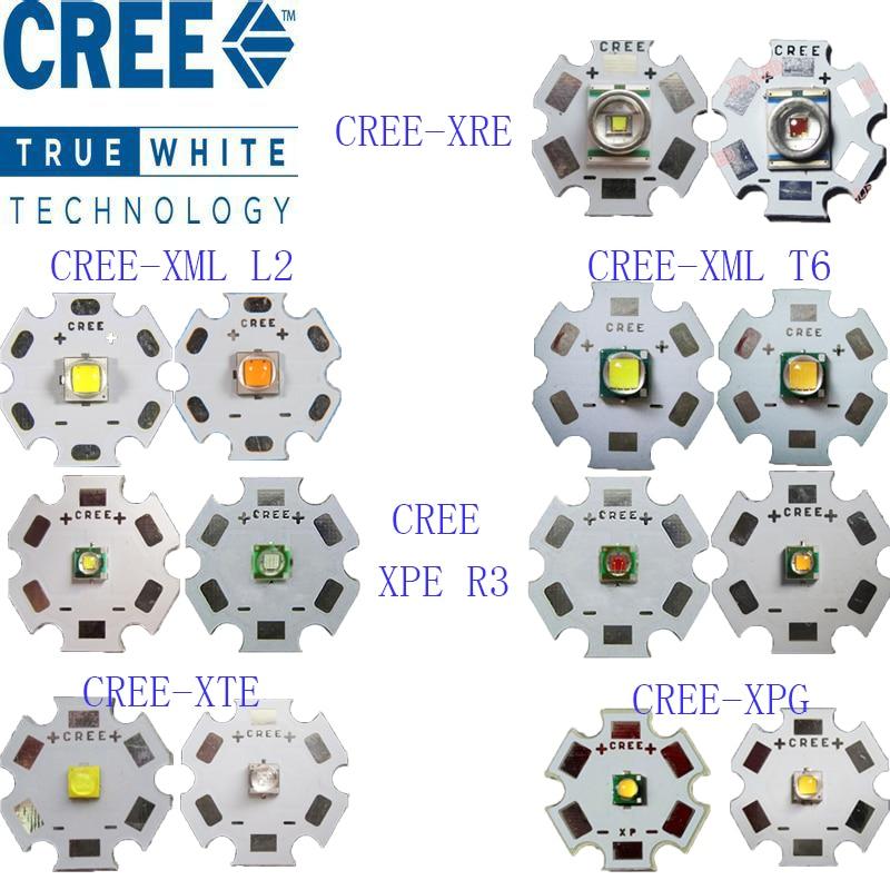 Original CREE 10W XML T6 / 10W XML L2 / XPE R3 3W / XRE Q5 3W / XTE R5 5W / XPG2 R5 5W / Warm Cool White Red Green Blue Yellow