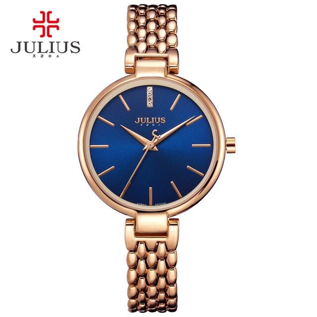 Nieuwe Dunne Dame vrouwen Horloge Japan Quartz Uur Fijne Mode Jurk Armband Rvs Band Meisje Verjaardagscadeau Julius doos