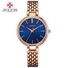 Nueva delgada señora de las mujeres de japón del reloj de cuarzo horas fino vestido de la manera pulsera de acero inoxidable band regalo de cumpleaños de la muchacha julius caja