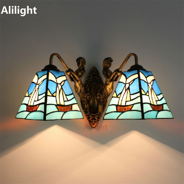 Brief Style Wall Lamp Tiffany Mediterranean Stained Gl Light Study Room Corridor Loft Sconce
