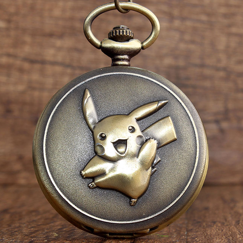 Japan Anime Cute Pokemon Pocket Watch Vintage Kawaii Pikachu Cartoon Quartz Fob Clock Necklace Chain Pendant Children Boys Gift