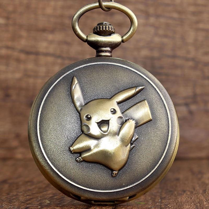 Japan Anime Cute Pokemon Pocket Watch Vintage Kawaii Pikachu Cartoon Quartz Fob Clock Necklace Chain Pendant Children Boys Gift