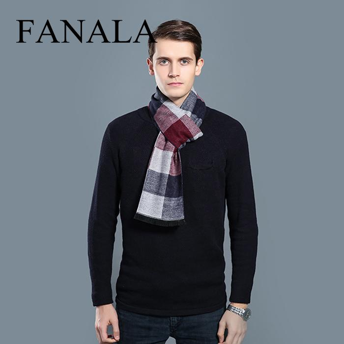 Scarf Checked Picture-Pattern Winter Business Casual Geometric Men Thickened Simple