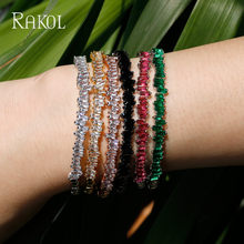 RAKOL AAA+ Cubic Zirconia Baguette Bijoux Cuff Tennis Bracelet&Bangle Female Women Bridal Wedding Jewelry Rose Gold/Gold Color(China)