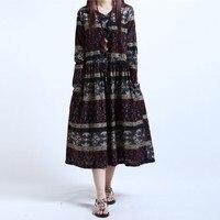 Autumn Dress Plus Size Loose Waist Long Dress Cotton Long Sleeve Print Women Dress Maxi Dress