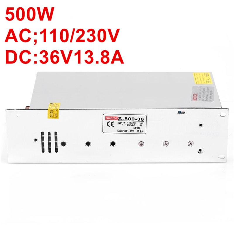 Best quality 500W 36V Power Supply 36V 14A Driver for LED Strip AC 100-240V Input to DC 36V S-500-36 best quality 36v 2 7a 100w switching power supply driver for cctv camera led strip ac 100 240v input to dc 36v free shipping