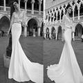Spring Two Pieces Lace Bodice Half Sleeve Mermaid Casual Wedding Dresses