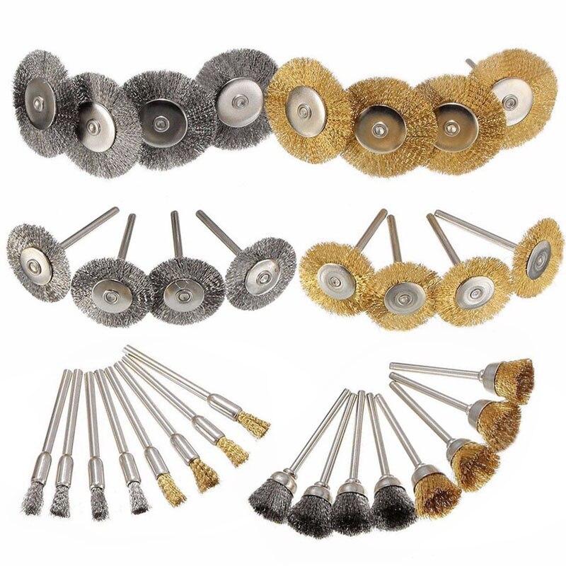 цена на 32Pcs Brass Steel Wire Brush Polishing Wheels Full Kit for Dremel Rotary Tools New --M25