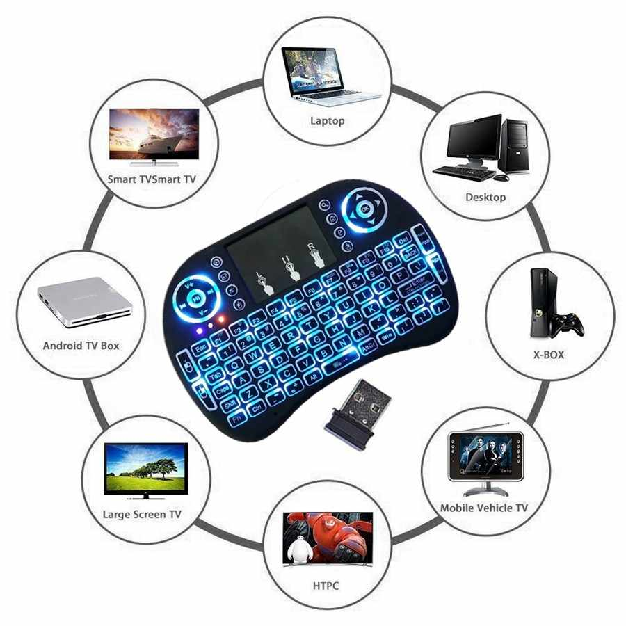 3 Kleur I8 Backlight Toetsenbord Russisch Engels Spaans Arabisch 2.4 Ghz Wireless Mini Air Mouse Touchpad Voor Android Tv Box