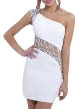2016 One-Shoulder Friesen Mini Graduation Dresses Sleeveless Durchsichtig Rückseite Reißverschluss Homecoming Cocktail Party Kleider