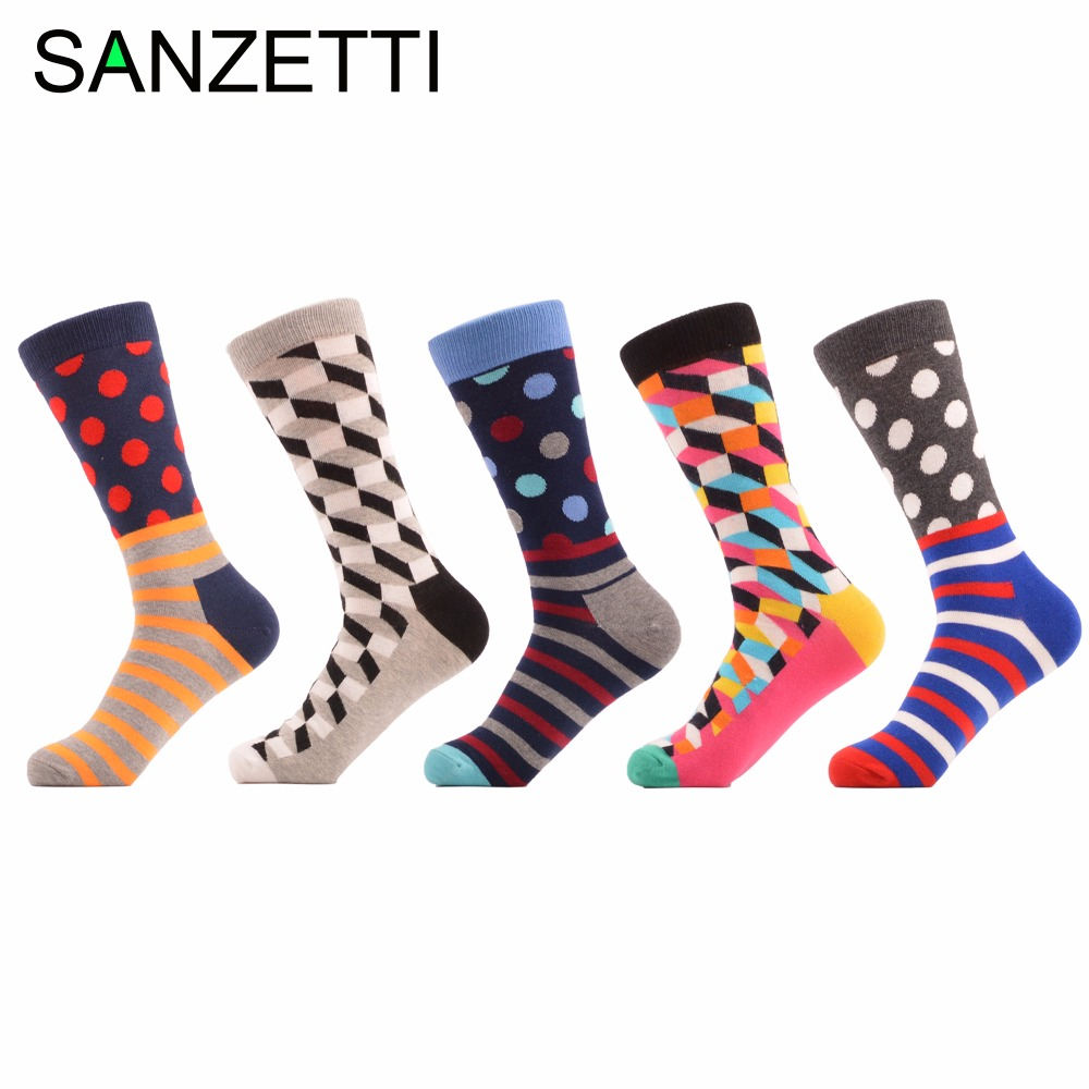 SANZETTI 5 pair/lot Filled Optic Dot Striped Luxury Cool Pattern Men Socks Socks Funny Style Combed Cotton Best Gift For Male