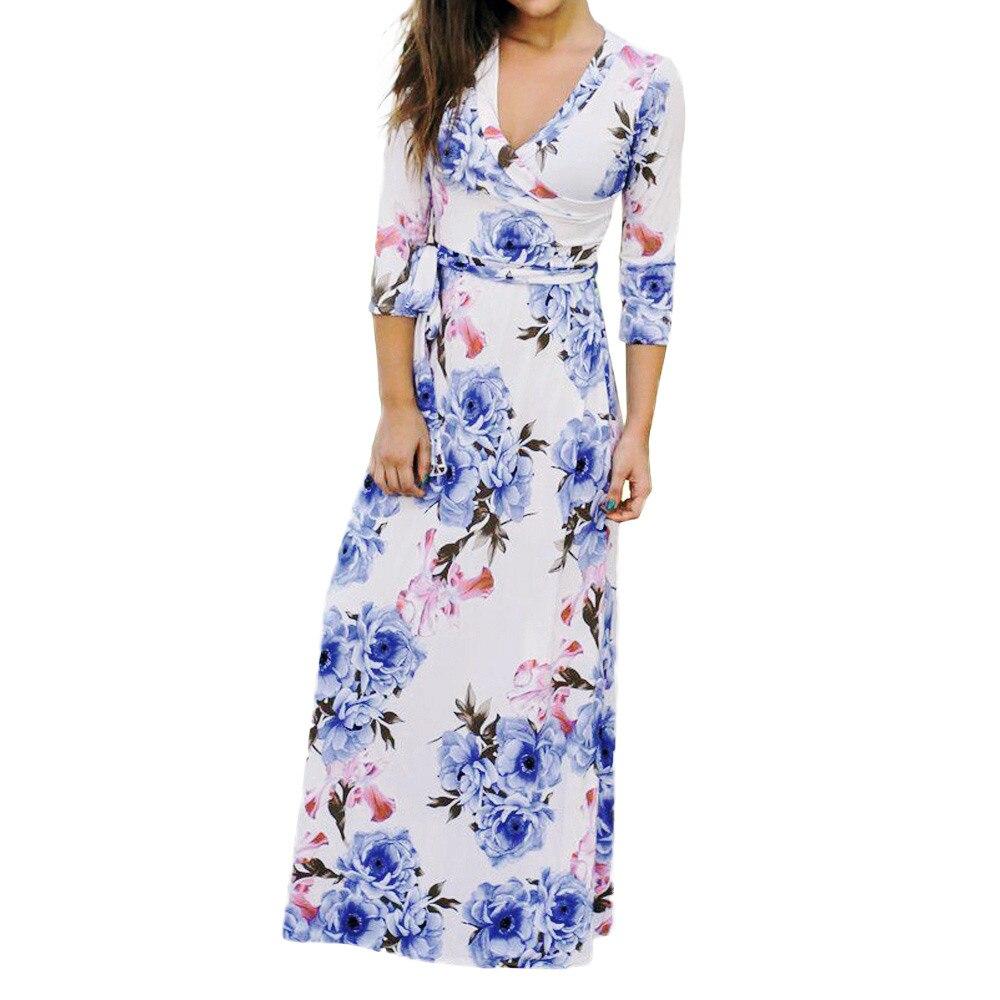 long dress Women Holiday Floral Print Three Quart Sleeve Maxi Dress Boho V Neck Party Belt vestidos de fiesta