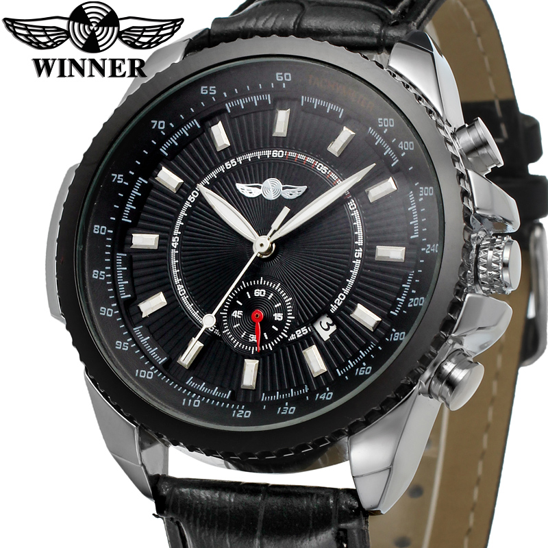WRG8053M3T1  new Winner brand Automatic luxury men watch with black leather strap free shipping gift box whole sale price ultra luxury 2 3 5 modes german motor watch winder white color wooden black pu leater inside automatic watch winder