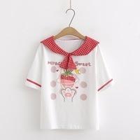 Preppy Style Korean Women Navy Collar Cute Strawberry Printed T shirt Short Sleeve Tee Japanese Kawaii Girl Harajuku Tops Shirt