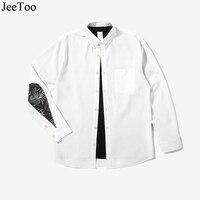 Nouveau Mode Casual Male Shirts Caractéristiques gouttes D'eau de Patchwork Hommes Shirt Blanc À Manches Longues Hommes Robe Turn Down Collor chemises