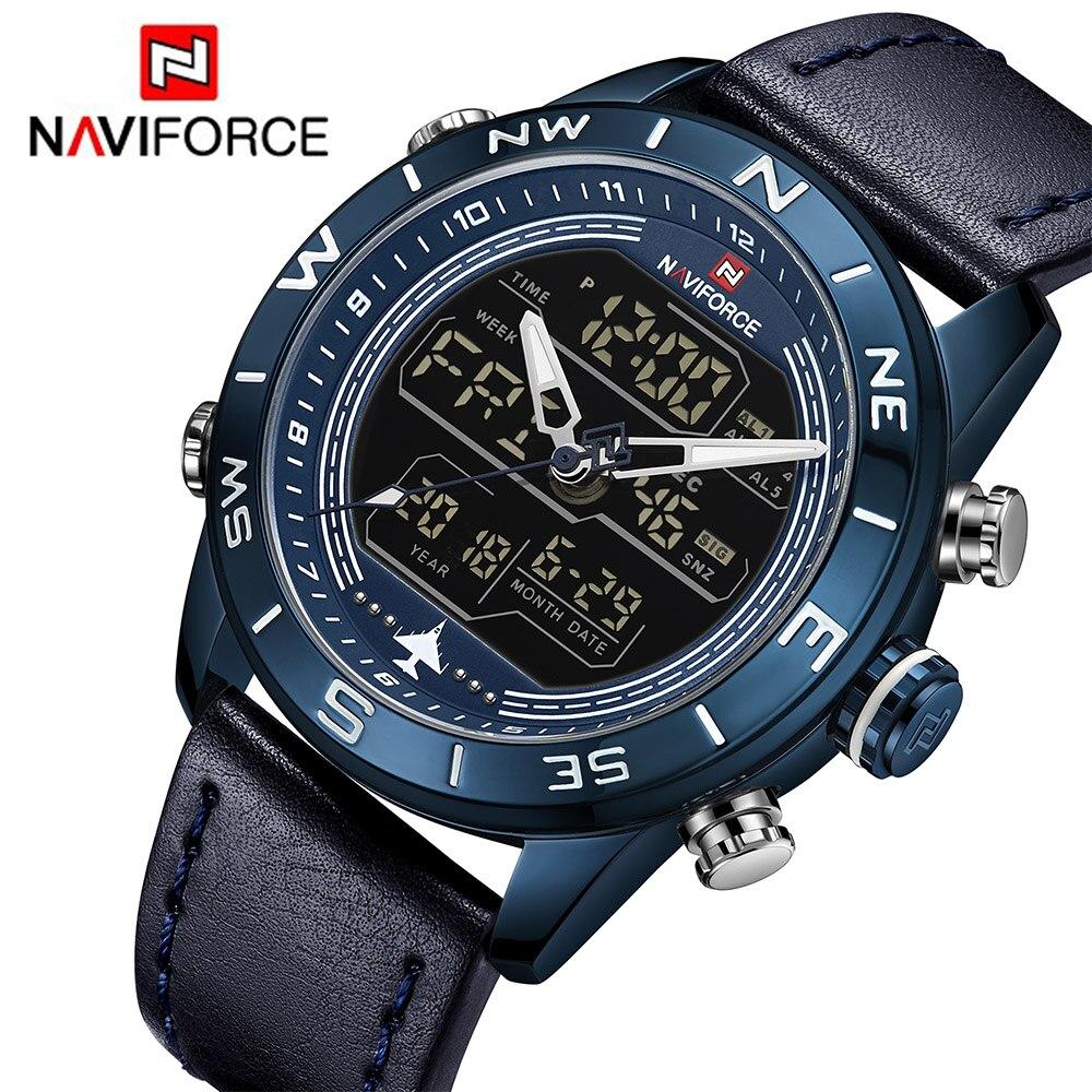 44a5c9b9cbe3 NAVIFORCE Brand Men s LED Analog Quartz Watch Men Sport Watches Army  Military Waterproof Wristwatch Male Relogio