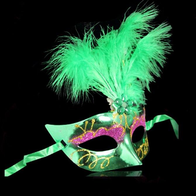 Çok Renkli Tüy PVC Prenses Maske Seksi Yortusu Venedik Bauta Maske - Tatiller ve Partiler Için - Fotoğraf 4