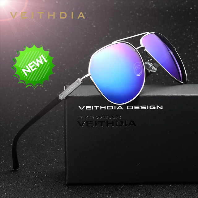 Veithdia marca diseño de moda lente verde gafas de sol recubrimiento espejo de conducción gafas de sol polarizadas varón eyewear para los hombres/de las mujeres 2732
